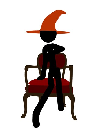 figuration: Halloween stickman silhouette illustration on a white background