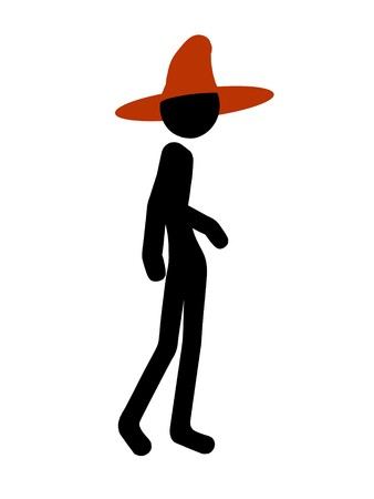 Halloween stickman silhouette illustration on a white background