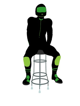 A male motorcycle rider sitting on a barstool silhouette on a white background