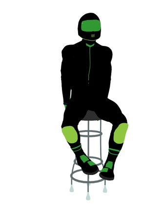 barstool: A male motorcycle rider sitting on a barstool silhouette on a white background