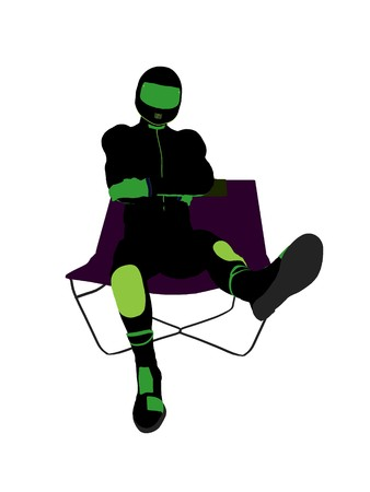 A male motorcycle rider sitting on a lounge chair silhouette on a white background