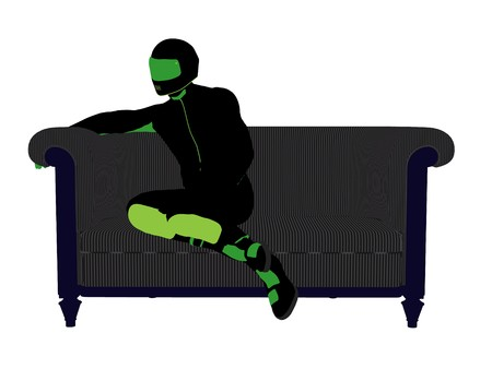A male motorcycle rider sitting on a sofa silhouette on a white background