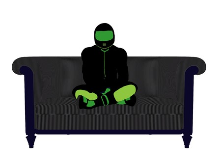 dirt bike: A male motorcycle rider sitting on a sofa silhouette on a white background