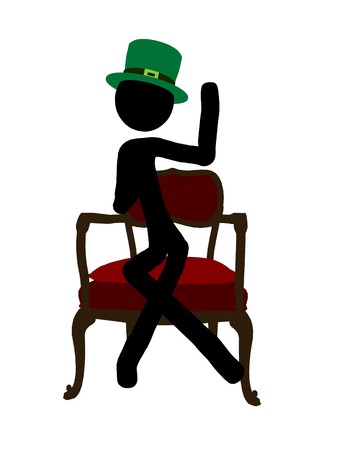 St. Patricks day stickman silhouette illustration on a white background Stock fotó