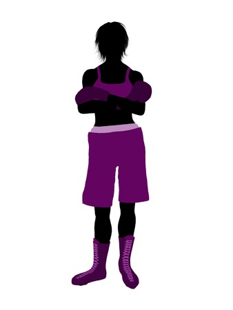 Female boxing art illustration silhouette on a white background