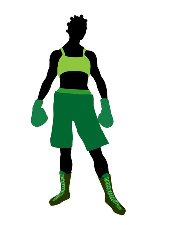 African american female boxer art illustration silhouette on a white background Фото со стока