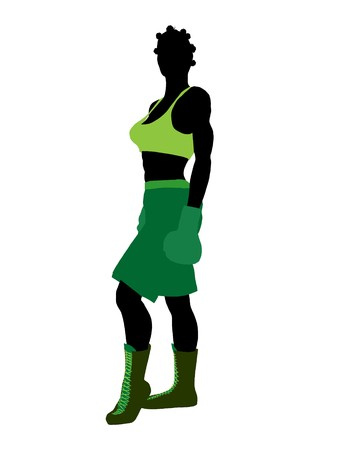 African american female boxer art illustration silhouette on a white background 스톡 콘텐츠