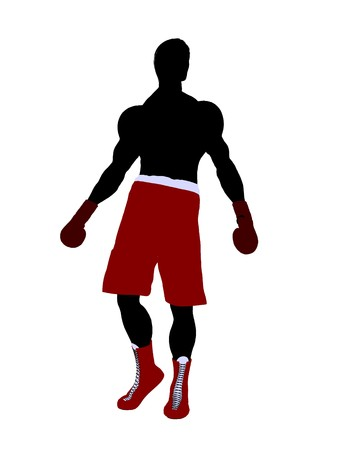 Male boxer art illustration silhouette on a white background Фото со стока