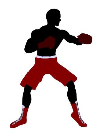 Silhouette di illustrazione arte pugile maschio su uno sfondo bianco Archivio Fotografico - 7393520