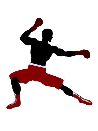 Male boxer art illustration silhouette on a white background 스톡 콘텐츠