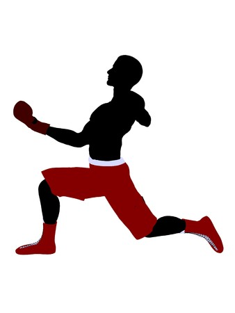 male boxer: Male boxer art illustration silhouette on a white background Stock Photo