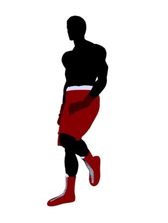 Maschio pugile arte illustrazione silhouette su uno sfondo bianco  Archivio Fotografico - 7392341