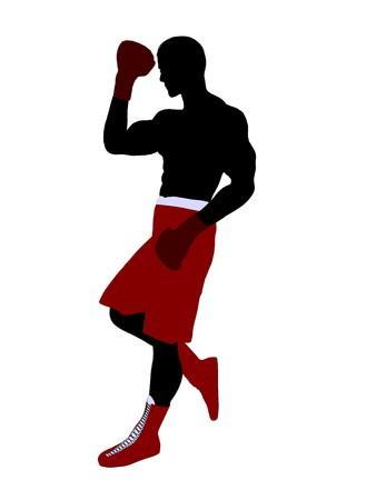 Sagoma di illustrazione arte pugile maschio su sfondo bianco Archivio Fotografico - 7392492