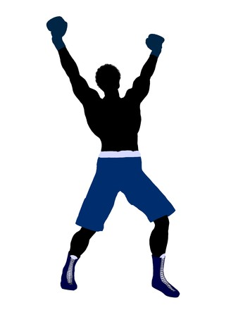 African american male boxer art illustration silhouette on a white background