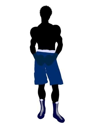 아프리카 계 미국인 남성 복서 예술 그림 실루엣 흰색 배경에