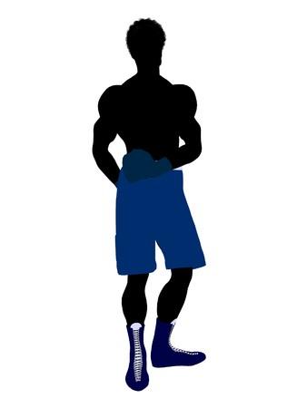 African american maschio pugile arte illustrazione silhouette su uno sfondo bianco Archivio Fotografico - 7392797