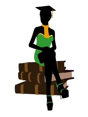 African american graduate sitting on a pile of books silhouette on a white background