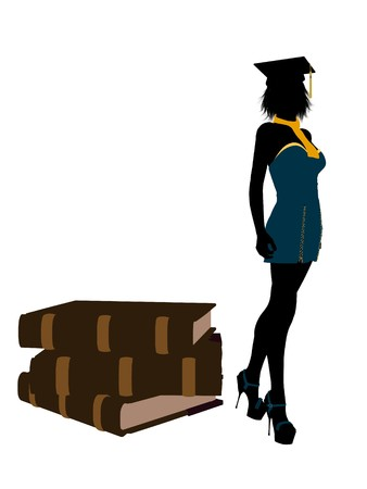 Female graduate standing next to a pile of books silhouette on a white background photo