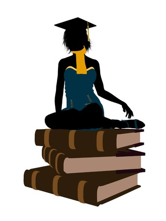 Female graduate sitting on a pile of books silhouette on a white background photo