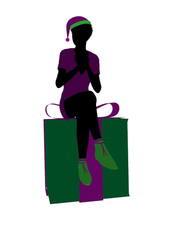 brownie: African american christmas elf sitting on a gift box illustration silhouette on a white background