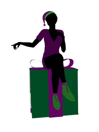 faery: African american christmas elf sitting on a gift box illustration silhouette on a white background