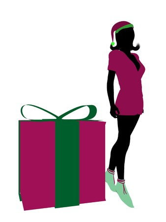 fay: Christmas elf standing next to a gift box illustration silhouette on a white background Stock Photo