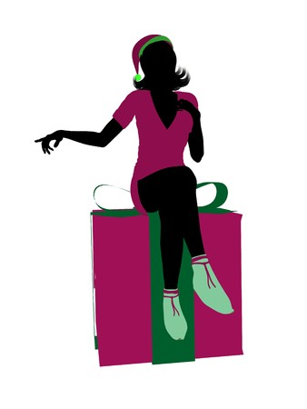 brownie: Christmas elf sitting on a gift box illustration silhouette on a white background Stock Photo