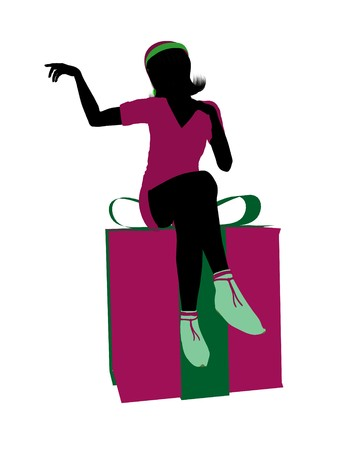 faery: Christmas elf sitting on a gift box illustration silhouette on a white background Stock Photo