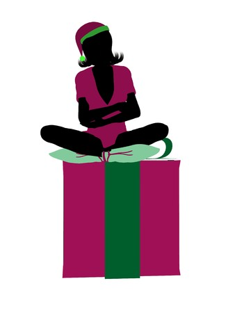 fay: Christmas elf sitting on a gift box illustration silhouette on a white background Stock Photo