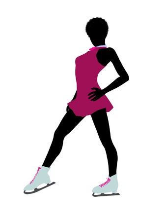 African american female ice skater art illustration silhouette on a white background