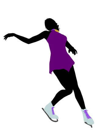 Female ice skater art illustration silhouette on a white background