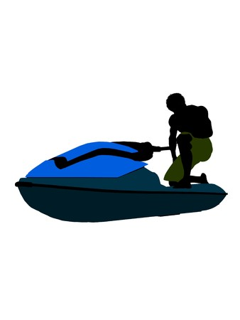 Male jetskier art illustration silhouette on a white background