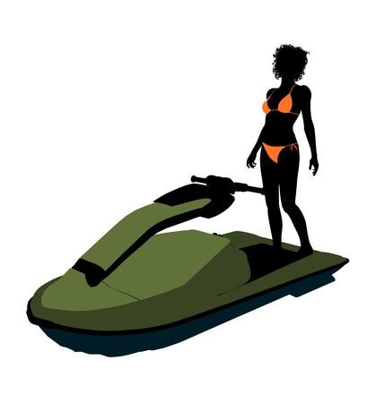 白い背景の上のアフリカ系アメリカ人の女性 jetskier アート イラスト シルエット
