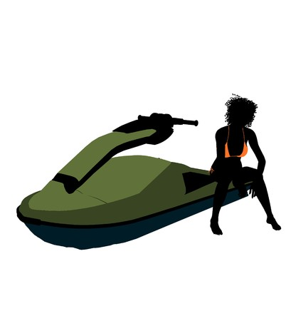 African american female jetskier art illustration silhouette on a white background Stock fotó