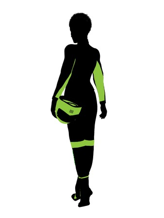 dirt bike: African american female motorcycle rider art illustration silhouette on a white background Stock Photo