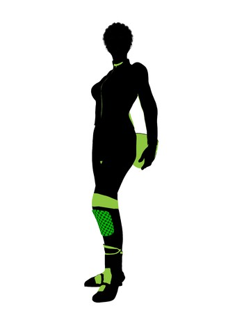 African american female motorcycle rider art illustration silhouette on a white background Stock fotó