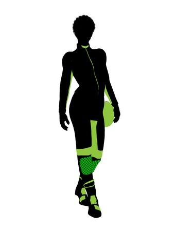 African american female motorcycle rider art illustration silhouette on a white background Stock Photo