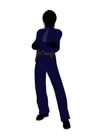 Female police officer silhouette illustration on a white background