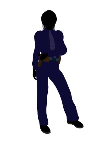 female police: Female police officer silhouette illustration on a white background