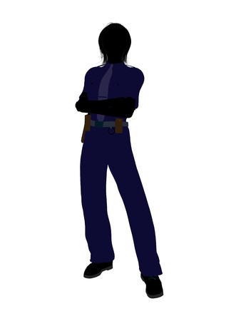 patrolman: Female police officer silhouette illustration on a white background