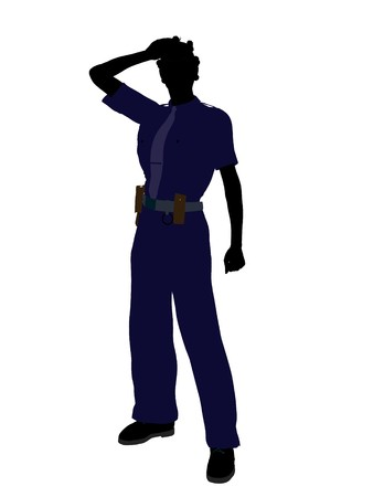 female cop: African american female police officer silhouette illustration on a white background