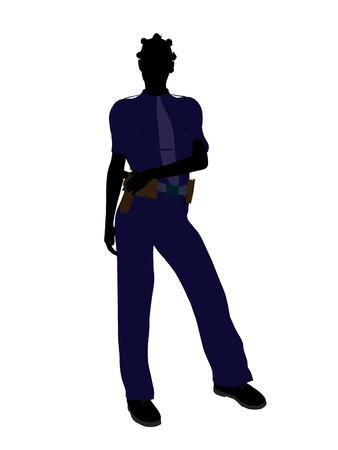 female police: African american female police officer silhouette illustration on a white background