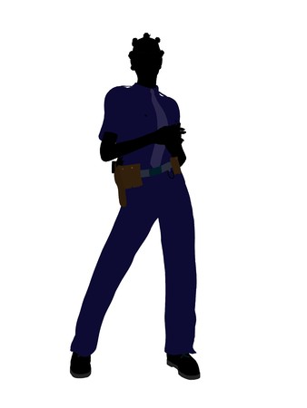 patrolman: African american female police officer silhouette illustration on a white background