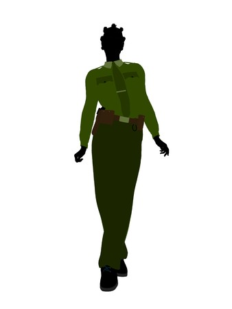 female cop: African american female sheriff silhouette illustration on a white background