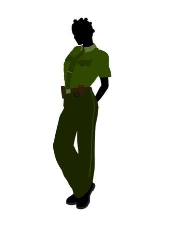 patrolman: African american female sheriff silhouette illustration on a white background