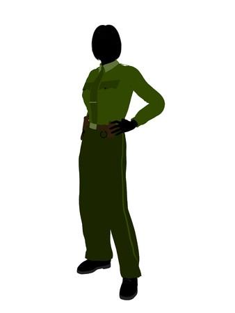 patrolman: Female sheriff silhouette illustration on a white background Stock Photo