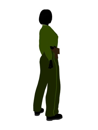 female cop: Female sheriff silhouette illustration on a white background Stock Photo