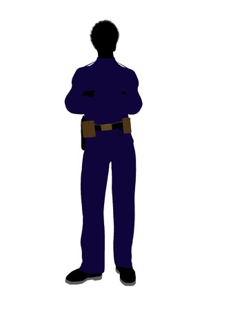 African american male police officer silhouette illustration on a white background Stock Illustration - 7391537