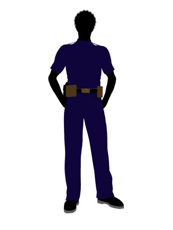 patrolman: African american male police officer silhouette illustration on a white background