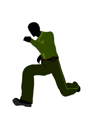 patrolman: Male sheriff silhouette illustration on a white background